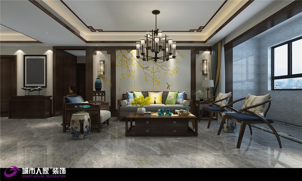 新中式 客厅图片来自济南城市人家装修公司-在龙湖春江悦茗装修新中式风格设计的分享