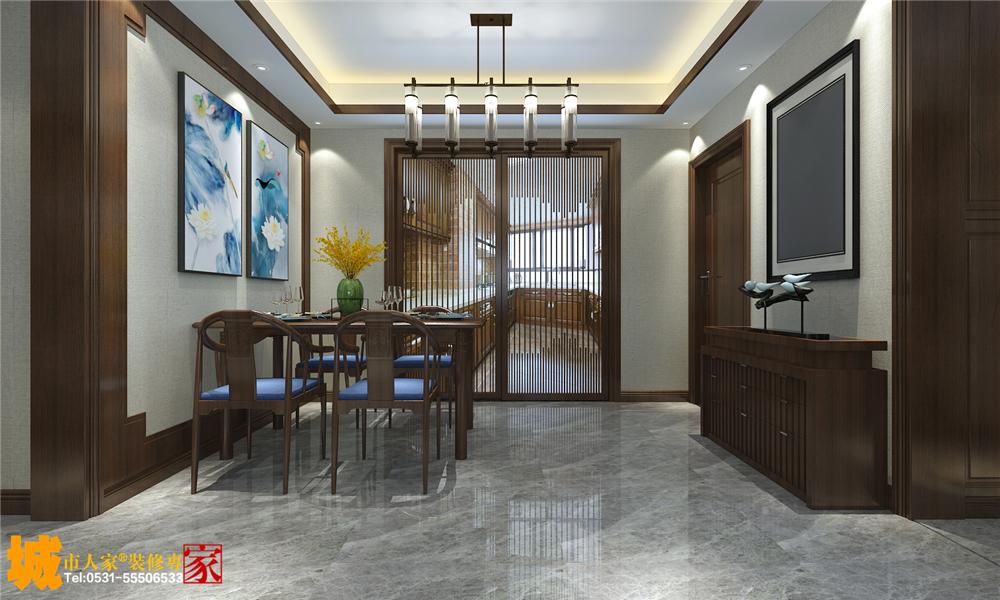 新中式 餐厅图片来自济南城市人家装修公司-在龙湖春江悦茗装修新中式风格设计的分享