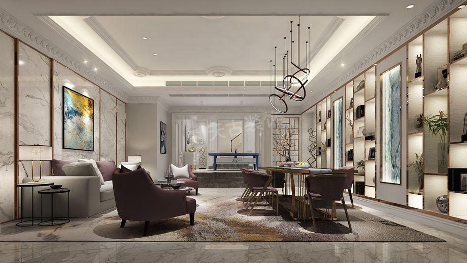 别墅 客厅 小资图片来自天古装饰13883431930在融创尊爵堡装修设计【法式轻奢】的分享