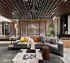 隔栅引入绿意 运用天花板有三种高度的木隔栅,线条走向由室内往户外,强烈的线条感诱导视线向外看,亦将把绿意带回来屋内,模糊内外界线。