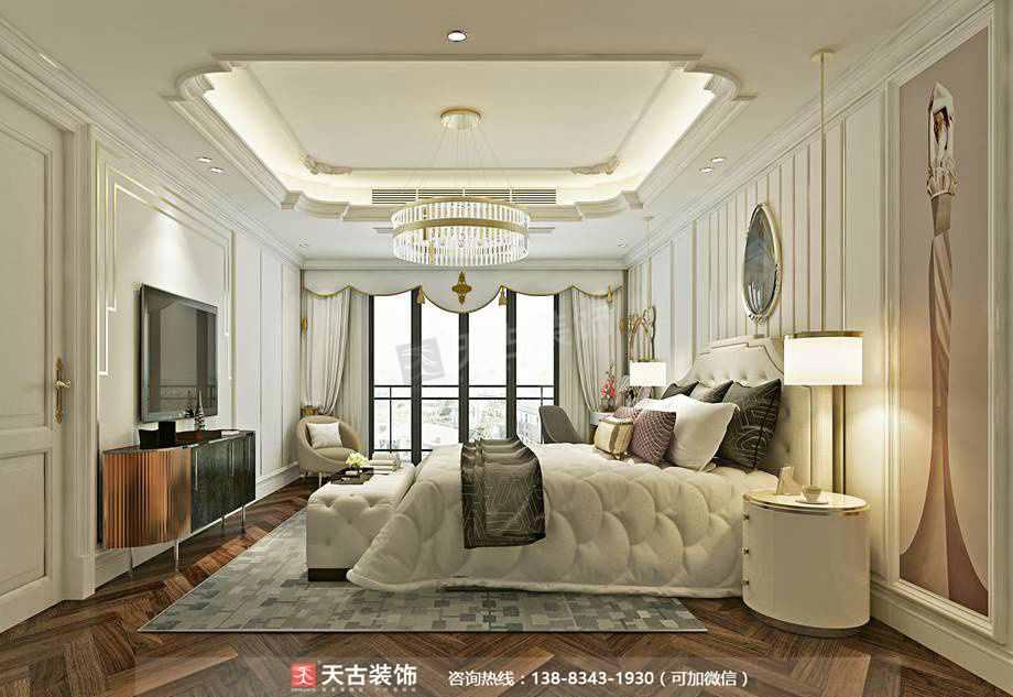 别墅 卧室 小资图片来自天古装饰13883431930在融创尊爵堡装修设计【法式轻奢】的分享