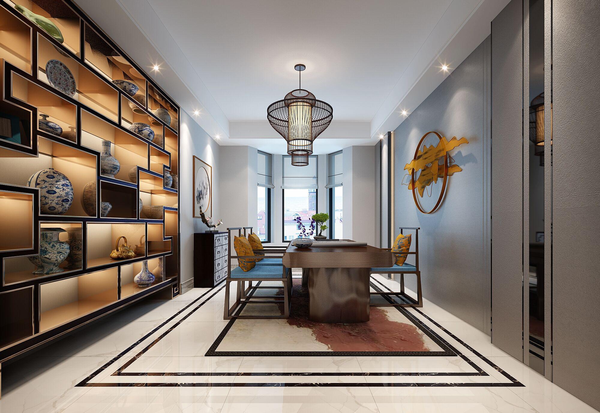 别墅 设计 装修 案例 新中式风格 书房图片来自无锡别墅设计s在吉宝澜岸名邸新中式案例的分享