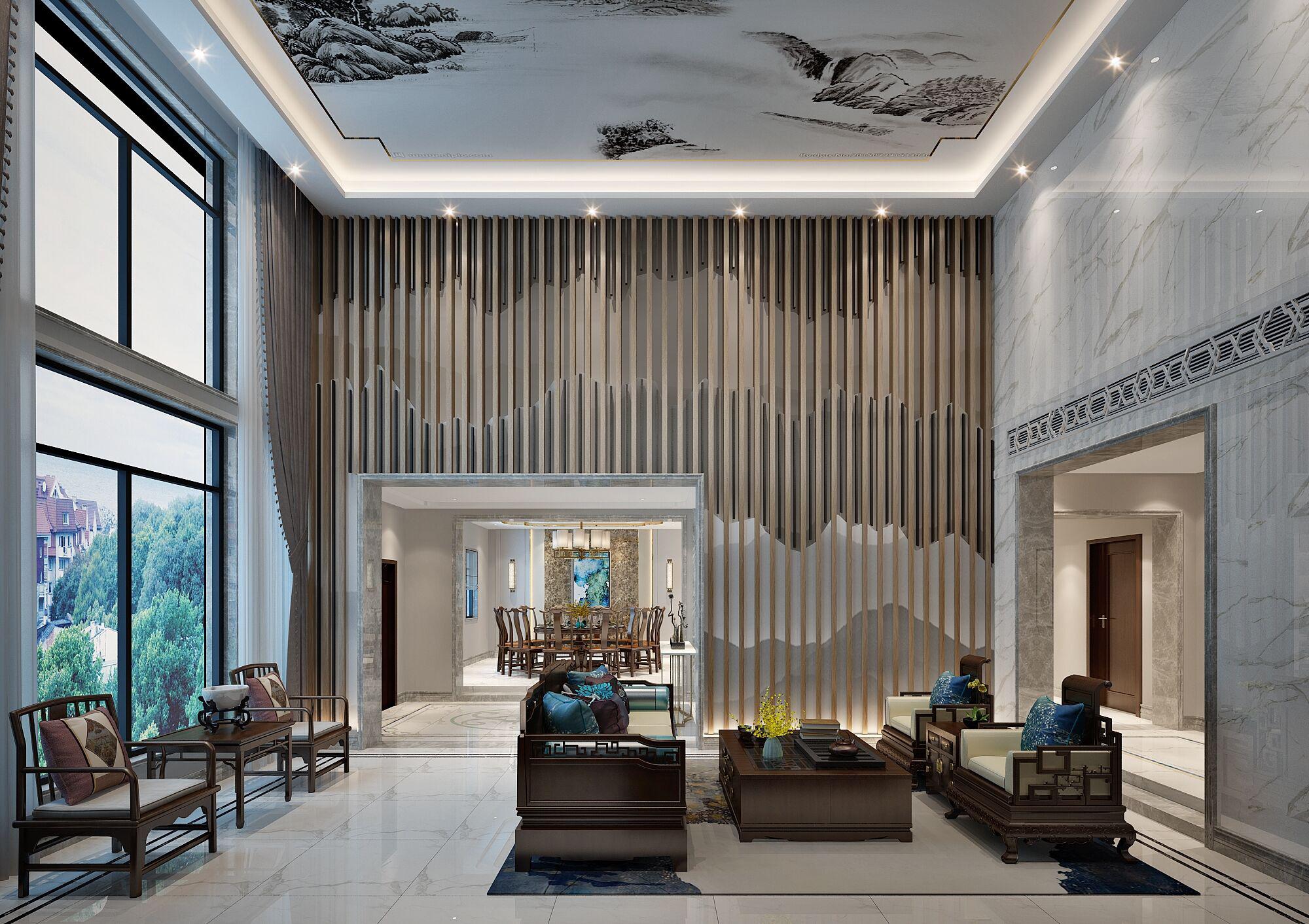 别墅 设计 装修 案例 新中式风格 客厅图片来自无锡别墅设计s在吉宝澜岸名邸新中式案例的分享