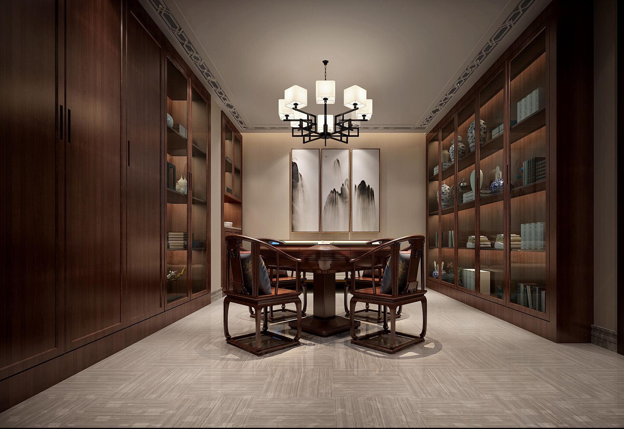 别墅 设计 装修 案例 新中式风格 棋牌室图片来自无锡别墅设计s在吉宝澜岸名邸新中式案例的分享