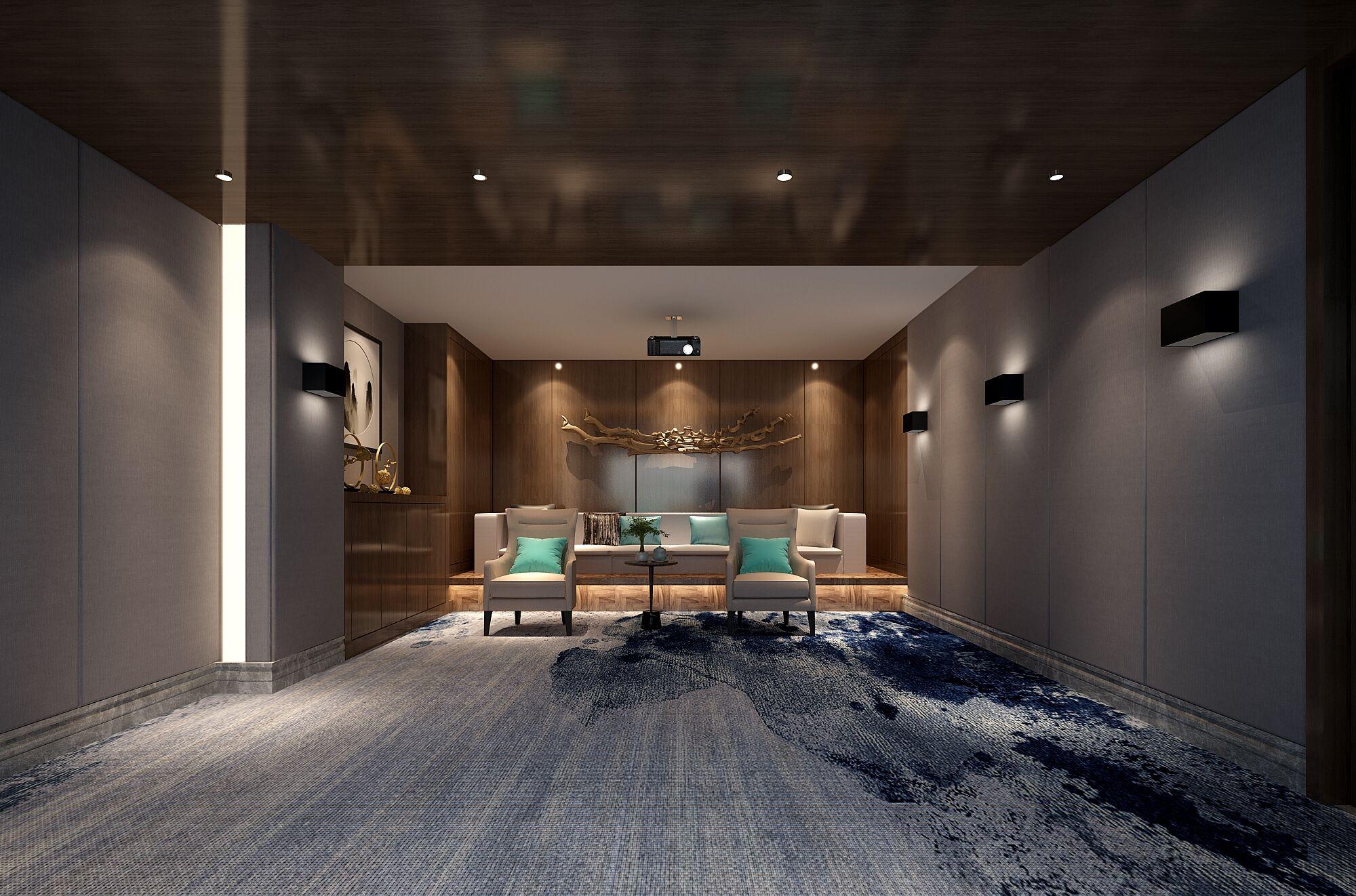 别墅 设计 装修 案例 新中式风格 影音室图片来自无锡别墅设计s在吉宝澜岸名邸新中式案例的分享