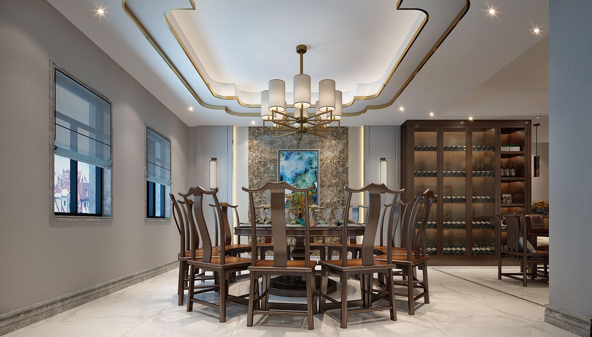 别墅 设计 装修 案例 新中式风格 餐厅图片来自无锡别墅设计s在吉宝澜岸名邸新中式案例的分享