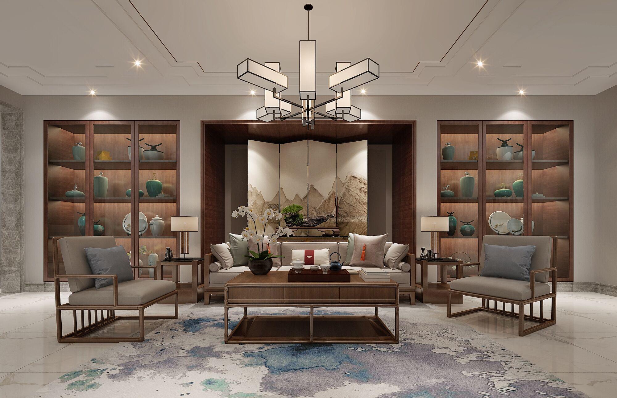 别墅 设计 装修 案例 新中式风格 会客室图片来自无锡别墅设计s在吉宝澜岸名邸新中式案例的分享