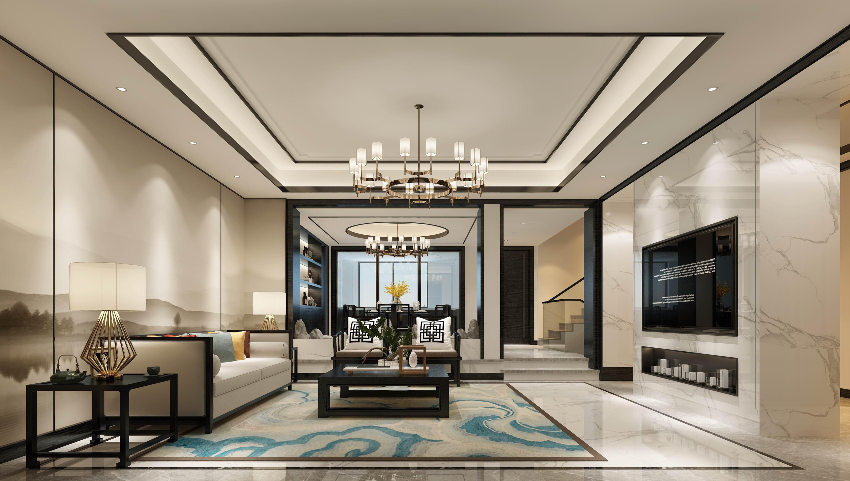 别墅 设计 装修 案例 新中式 客厅图片来自无锡别墅设计s在水岸名府新中式450㎡装修案例的分享