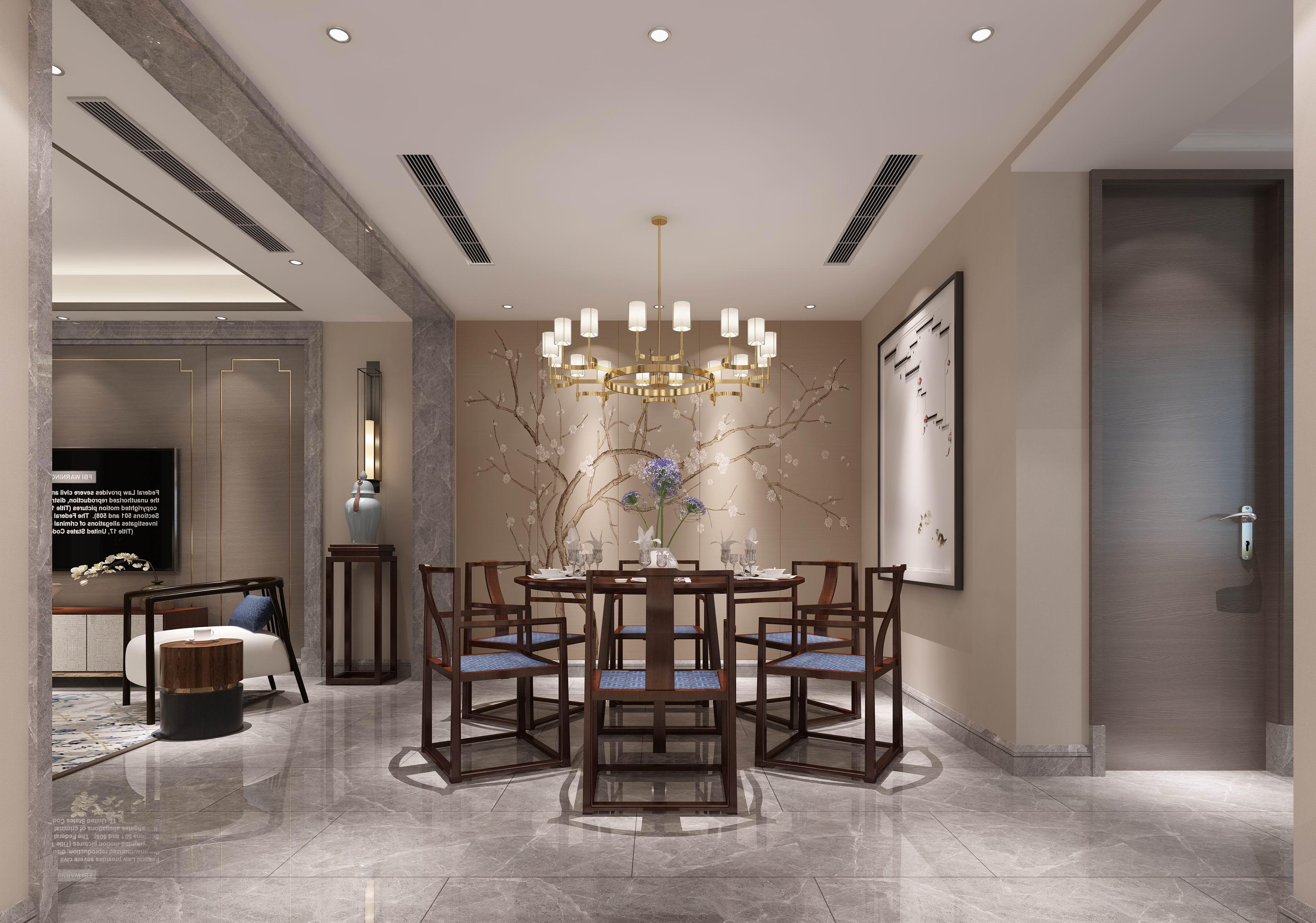 别墅 设计 装修 案例 现代中式 餐厅图片来自无锡别墅设计s在中建城中墅310㎡现代中式风格的分享