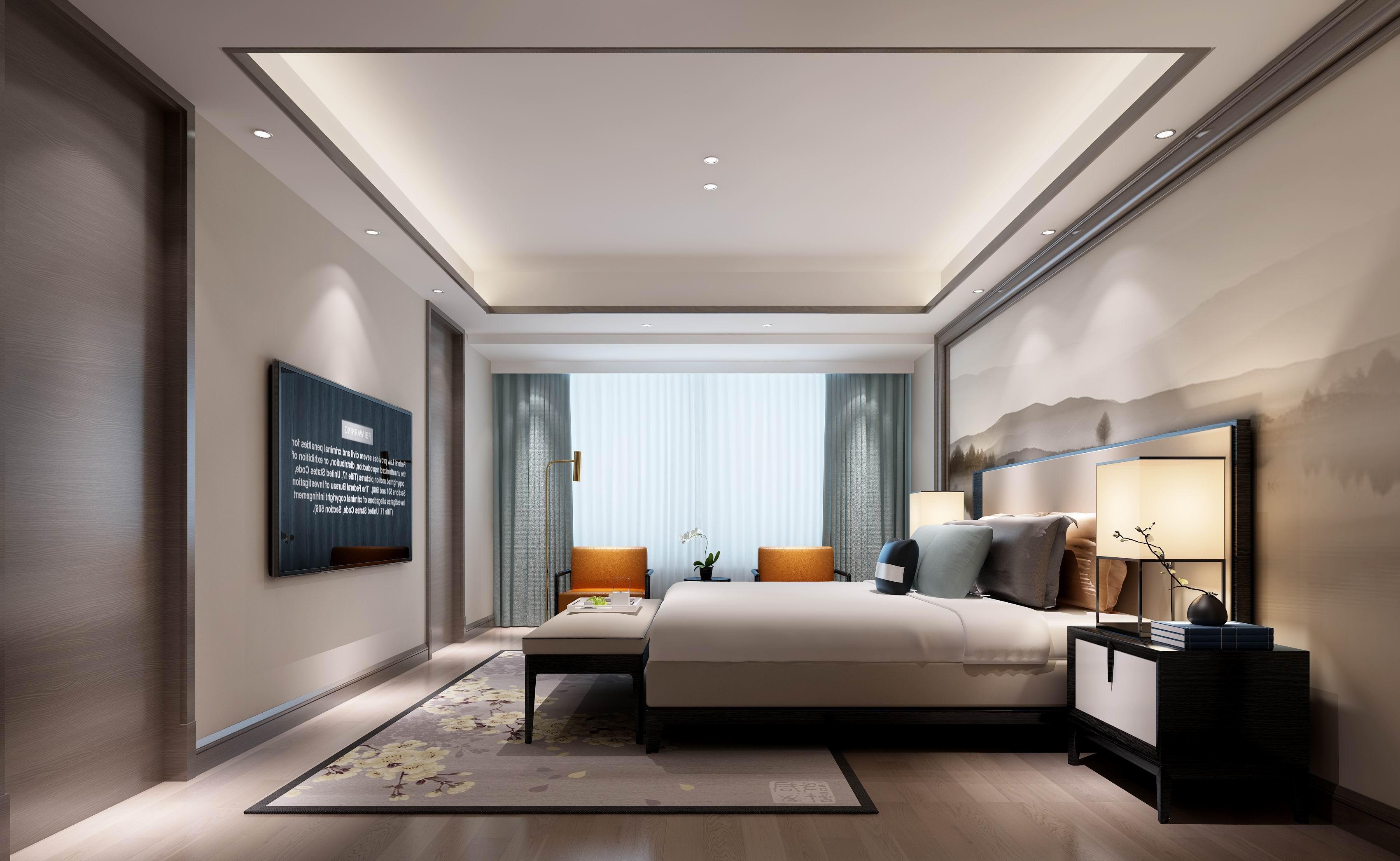 别墅 设计 装修 案例 现代中式 卧室图片来自无锡别墅设计s在中建城中墅310㎡现代中式风格的分享
