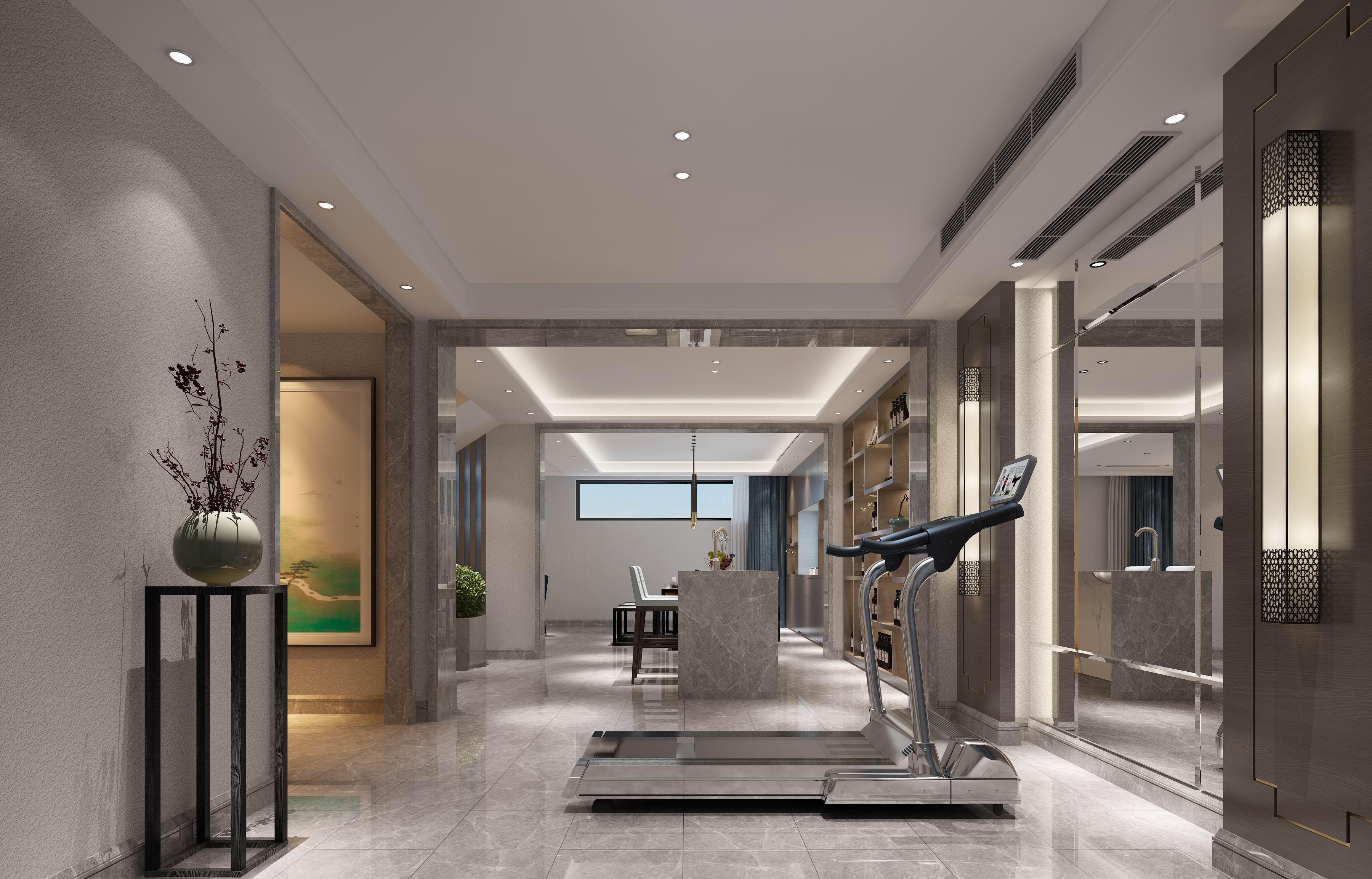 别墅 设计 装修 案例 现代中式 健身区图片来自无锡别墅设计s在中建城中墅310㎡现代中式风格的分享