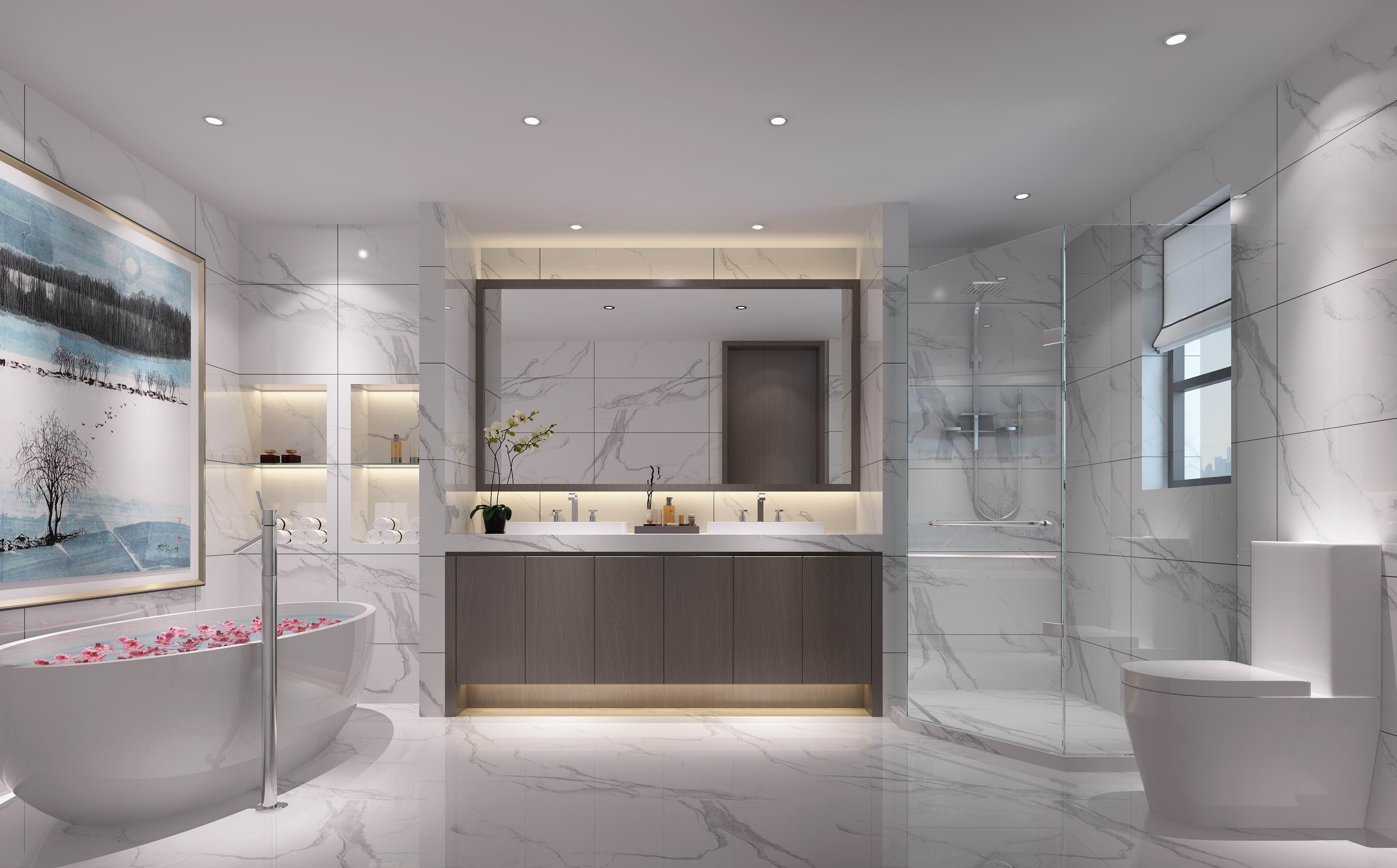 别墅 设计 装修 案例 现代中式 卫浴间图片来自无锡别墅设计s在中建城中墅310㎡现代中式风格的分享