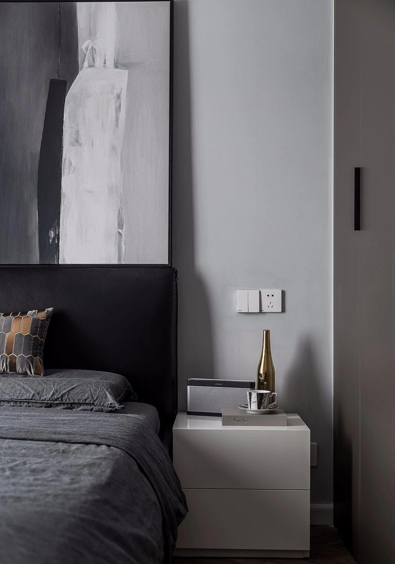 现代 混搭 全案设计 基装 重庆家装 卧室图片来自鹏友百年装饰在黑白灰现代三室的分享