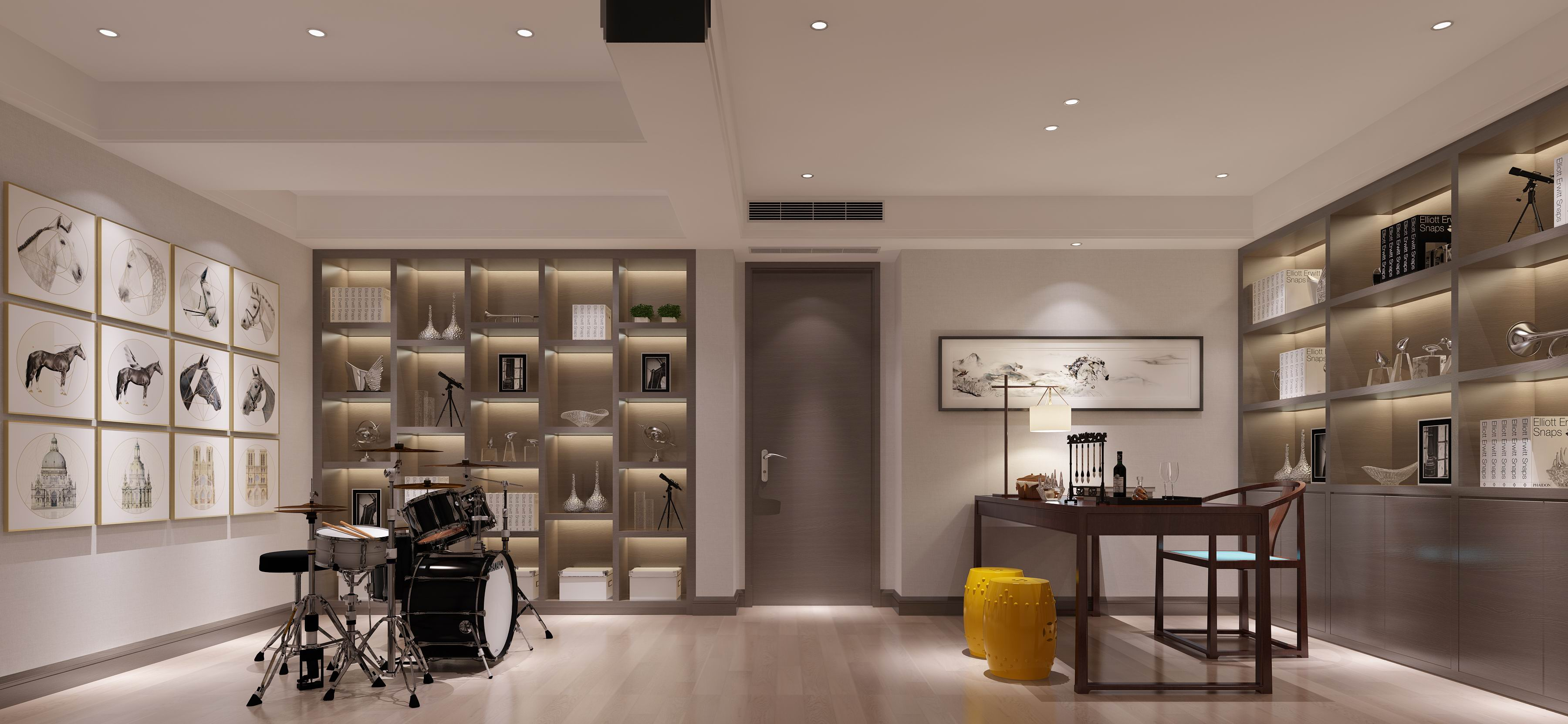 别墅 设计 装修 案例 现代中式 书房图片来自无锡别墅设计s在中建城中墅310㎡现代中式风格的分享