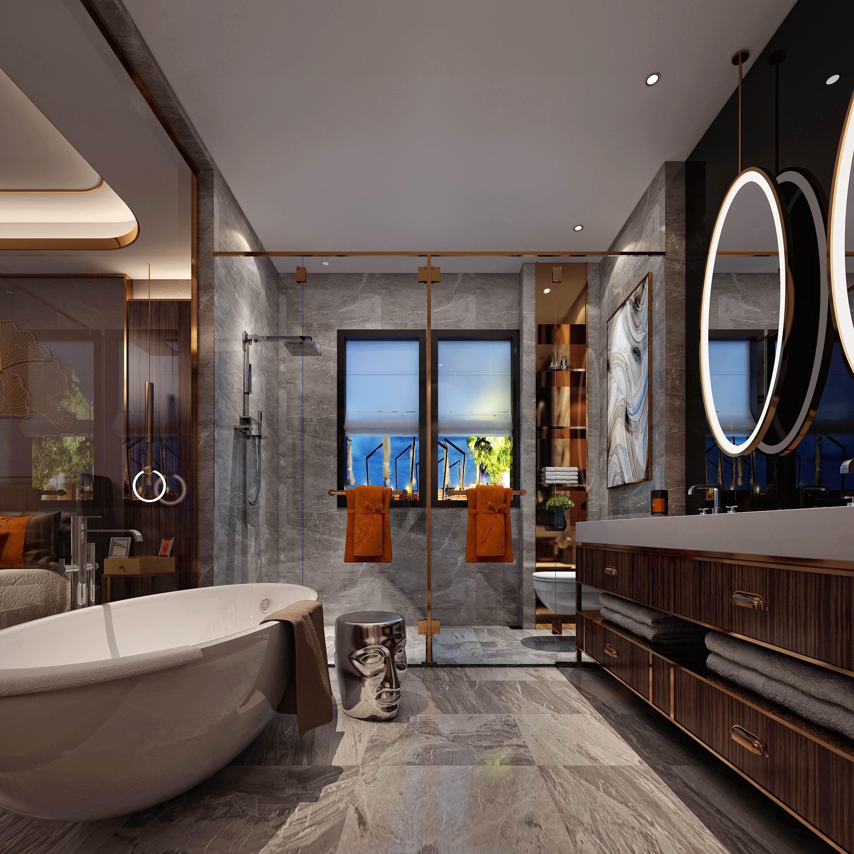 别墅 设计 装修 案例 港式风格 卫浴间图片来自无锡别墅设计s在复地源墅440㎡港式风格别墅案例的分享