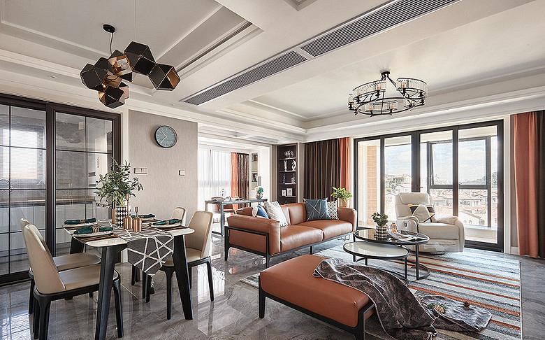 客厅图片来自家装大管家在128平现代轻奢风3居 雅致有格调的分享