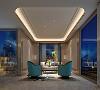 会客区布置简洁自然,色彩和谐,暖色沙发将客厅布置为开放式,与外景的休闲区各为一方景致