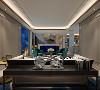 电视墙采用了隔断处理,合理的将各个区域划分开,金色边木质家具色调使居室充满休闲的氛围,是快节奏都市生活的休憩的港湾。