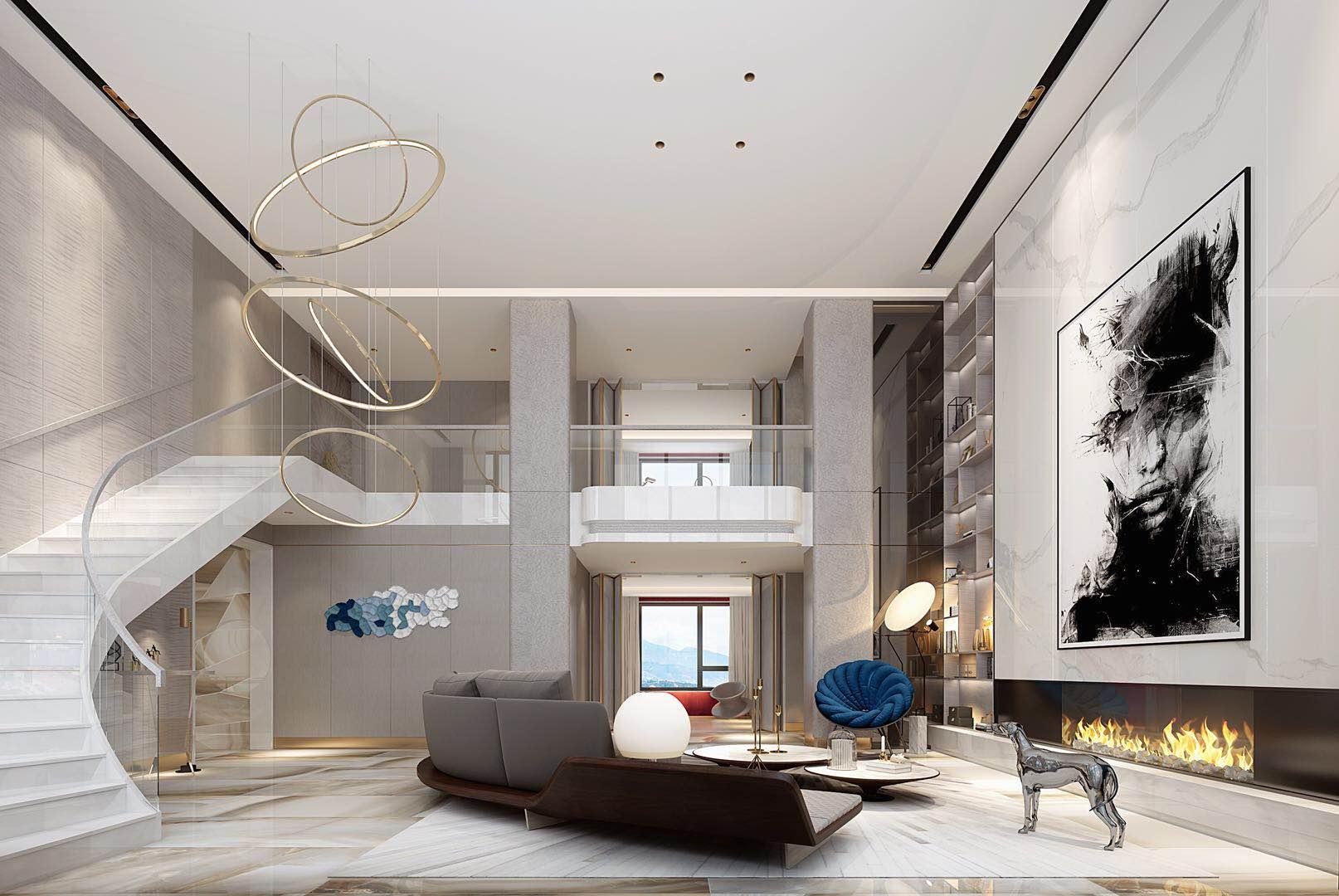 别墅 设计 装修 案例 现代轻奢 客厅图片来自无锡别墅设计s在金匮大观500㎡别墅现代轻奢案例的分享