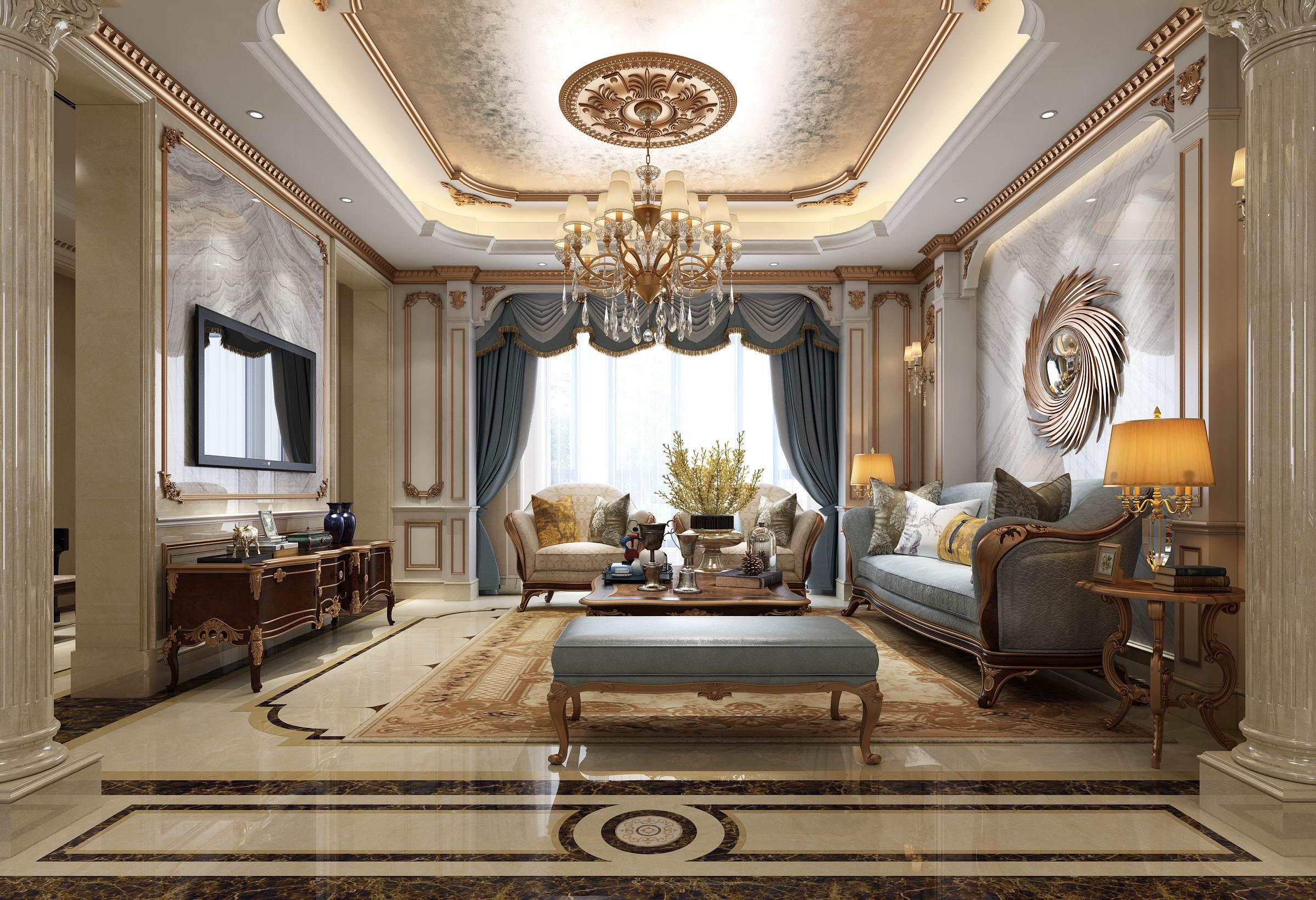 别墅 装修 设计 案例 法式 新中式 客厅图片来自无锡别墅设计s在鸿墅405㎡法式+新中式装修案例的分享