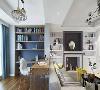 在客厅就能看到书房、餐厅,开放式显空旷。