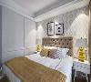 这是卧室,墙壁贴的是墙纸。