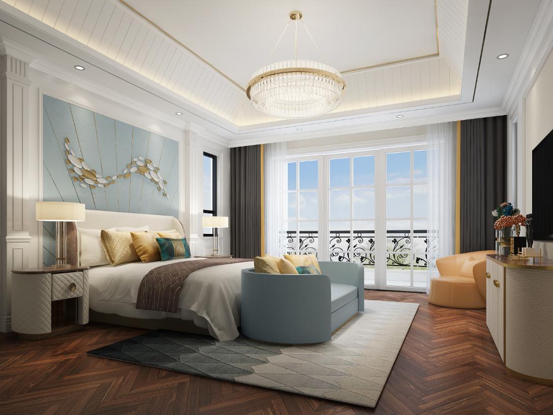 别墅 卧室图片来自朱平波在观领—轻奢时光的分享