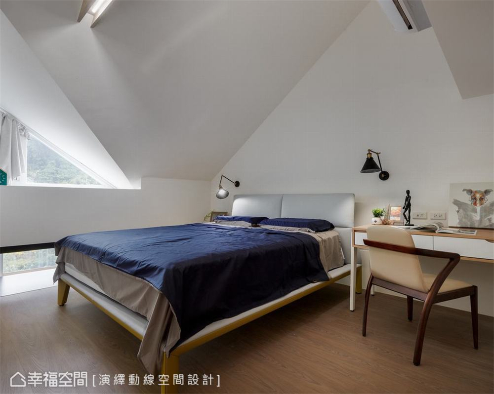 卧室图片来自幸福空间在139平, 北欧分层斜角屋的分享