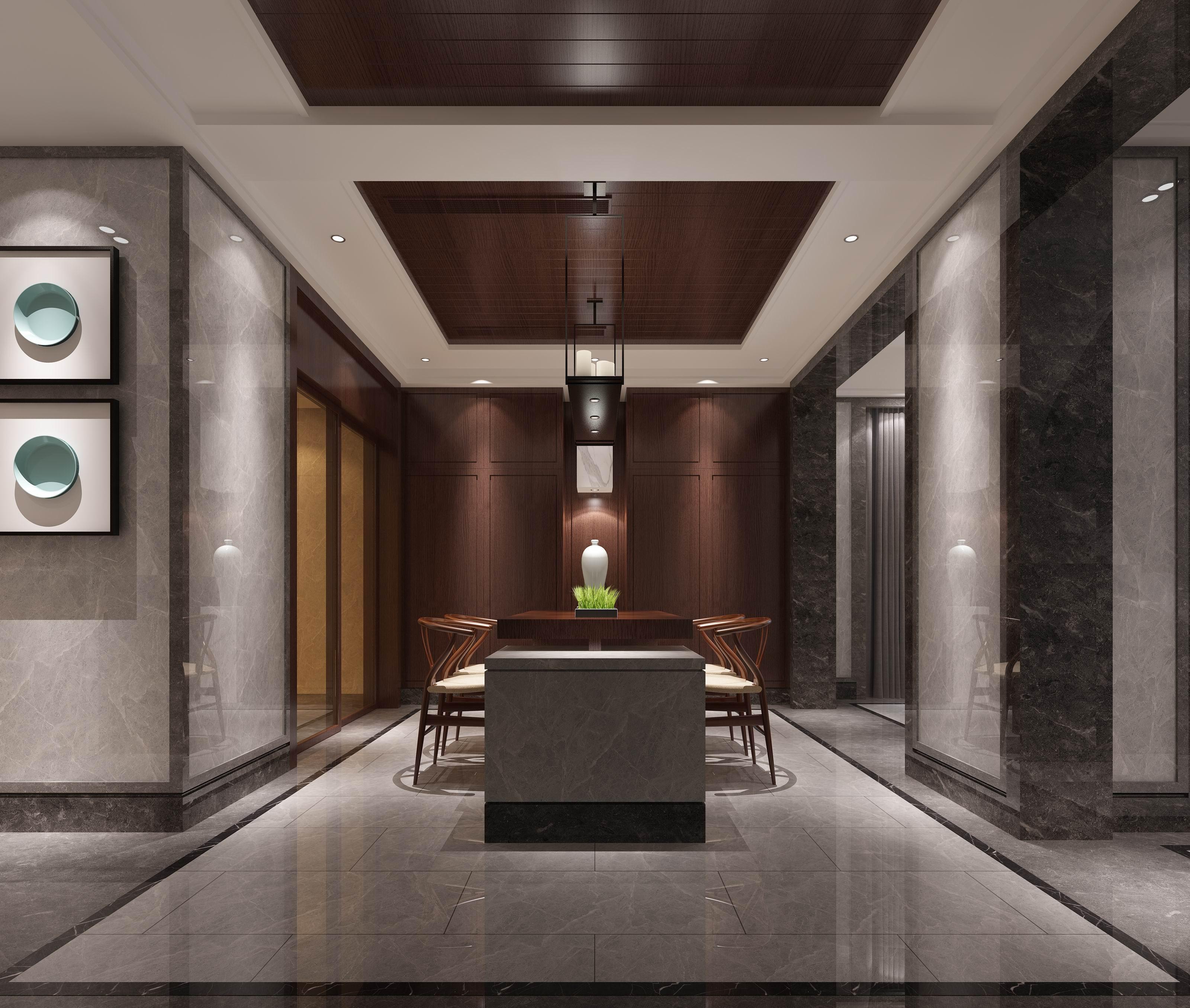 别墅 设计 装修 案例 新中式 西厨图片来自无锡别墅设计s在沁春园450㎡新中新别墅案例的分享