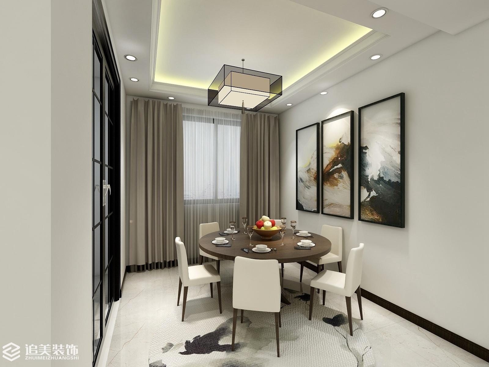 新中式风格 三居室 客厅 餐厅 卧室图片来自河南追美装饰在天明城优雅新新中式风格的分享