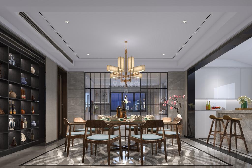 两江御园 兄弟装饰 别墅 新中式风格 餐厅图片来自重庆兄弟装饰公司在绿城两江御园装修,兄弟装饰的分享