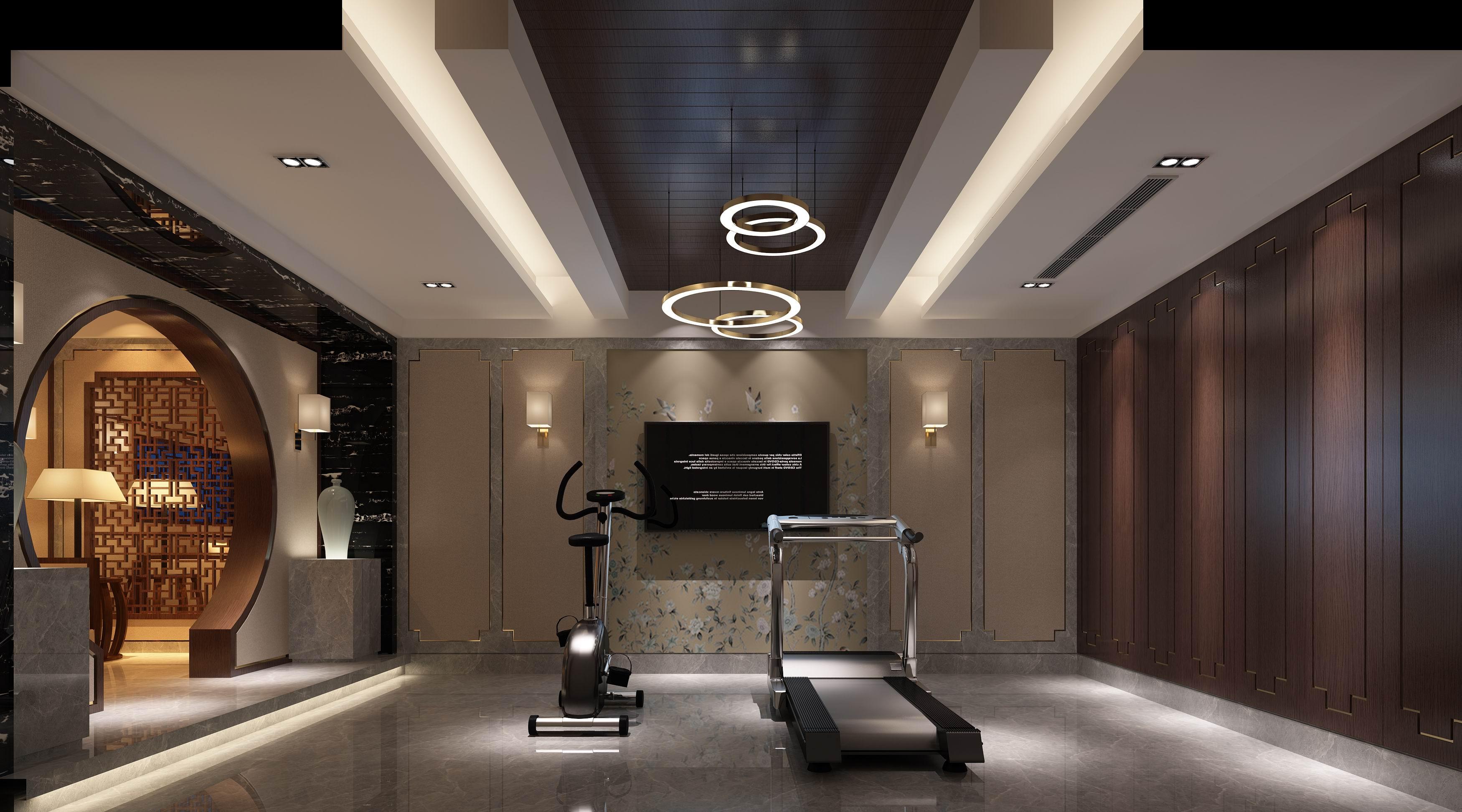 别墅 设计 装修 案例 新中式 健身区图片来自无锡别墅设计s在沁春园450㎡新中新别墅案例的分享
