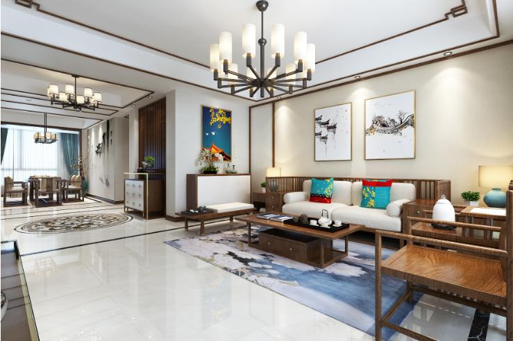 客厅图片来自装家美在中正锦城191平米新中式设计风格的分享