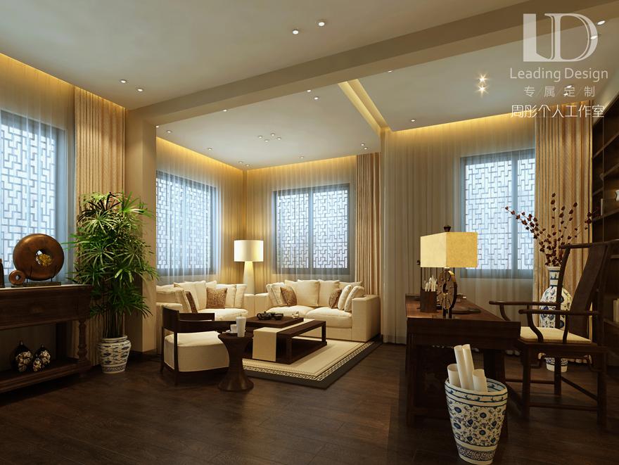 新中式 别墅设计 兄弟装饰 客厅图片来自重庆兄弟装饰黄妃在渝北融创博爵堡别墅实景装修设计的分享