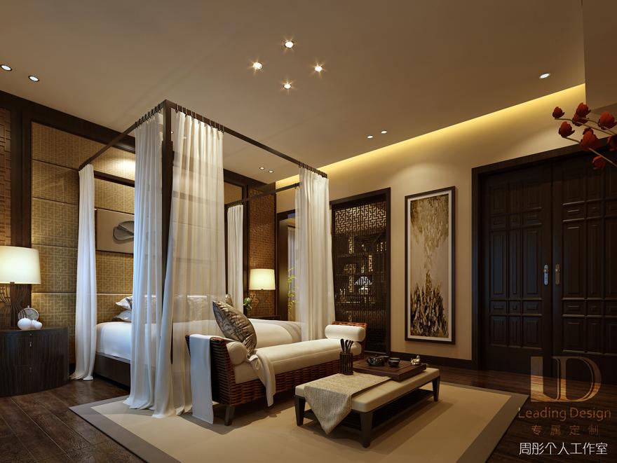 新中式 别墅设计 兄弟装饰 卧室图片来自重庆兄弟装饰黄妃在渝北融创博爵堡别墅实景装修设计的分享