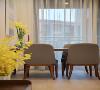位于房子另一侧的餐厅空间,以木质为底,布艺软包为坐垫的餐桌椅,让人坐着舒适,颜值也高,整个餐厅空间非常有简洁感。