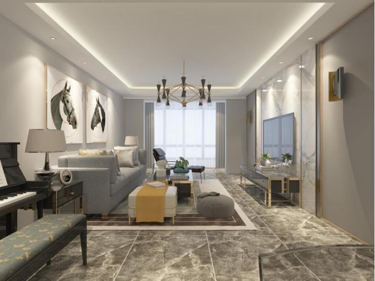 客厅图片来自装家美在140平米现代轻奢装修设计图的分享