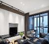 白色储物柜造型留出电视机的位置,打造现代风格的机能电视背景墙