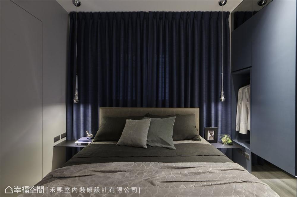 装修设计 装修完成 工业风格 卧室图片来自幸福空间在69平,线性设计  蓝调工业宅的分享