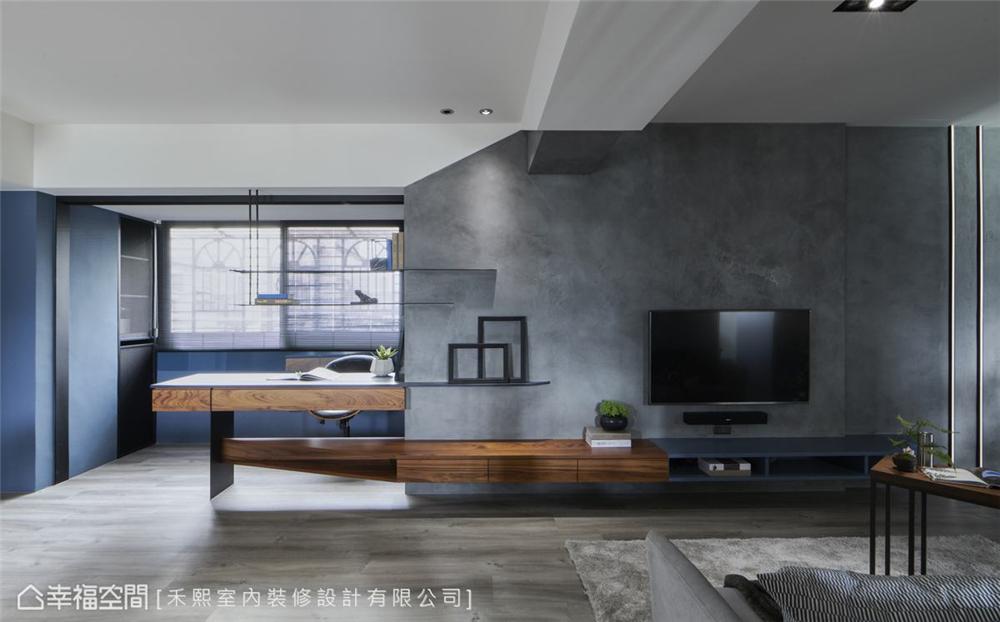 装修设计 装修完成 工业风格 客厅图片来自幸福空间在69平,线性设计  蓝调工业宅的分享