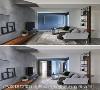 客厅端景 为了弱化门把的存在感,谢张志昇与林宗仪设计师干脆将白色门把串连设计成意象画框,赋予端景更多想像空间。