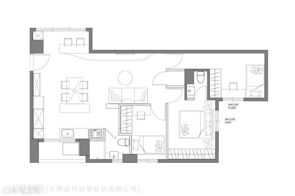 装修设计 装修完成 工业风格 户型图图片来自幸福空间在69平,线性设计  蓝调工业宅的分享
