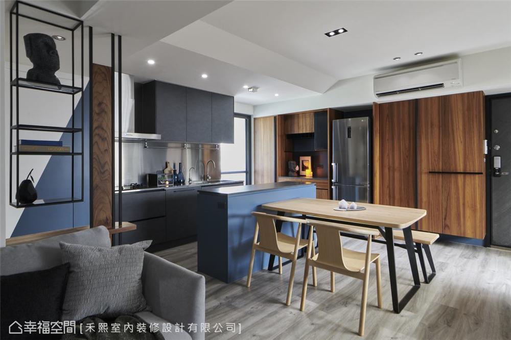 装修设计 装修完成 工业风格 厨房图片来自幸福空间在69平,线性设计  蓝调工业宅的分享
