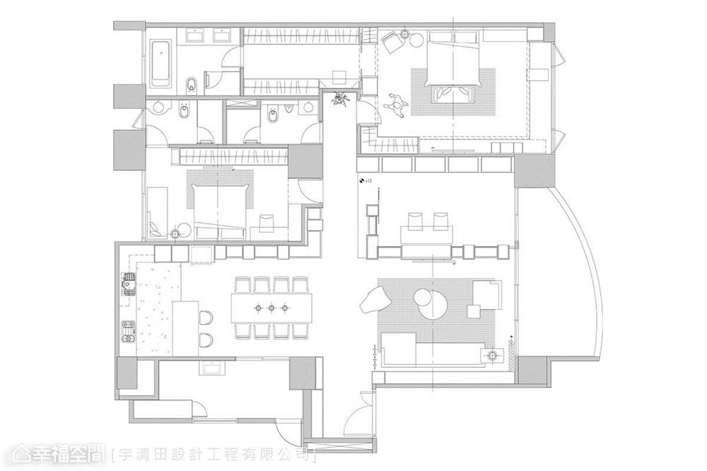 装修设计 装修完成 现代风格 户型图图片来自幸福空间在149平, 精品工艺唯美宅的分享