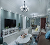 全屋色系采用浅绿色,用特有的明度和柔光缓解疲惫。客厅里搭配融入空间色系的短绒地毯,整个空间清新自然。白色系的茶几、电视柜;青葱的绿植;装饰画,每一个细节都饱含对生活的热情和对艺术的欣赏。