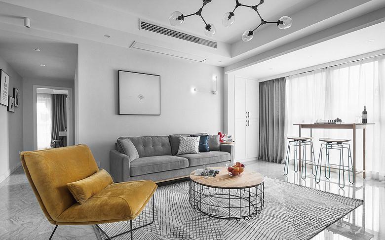 客厅图片来自家装大管家在化繁为简 96平现代主义浪漫两居的分享