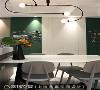 墙面改造 餐桌旁墙面实为主卧房入口,利用隐藏门片设计搭配两侧黑板漆装饰,让净白的空间顿时增加活泼之感。