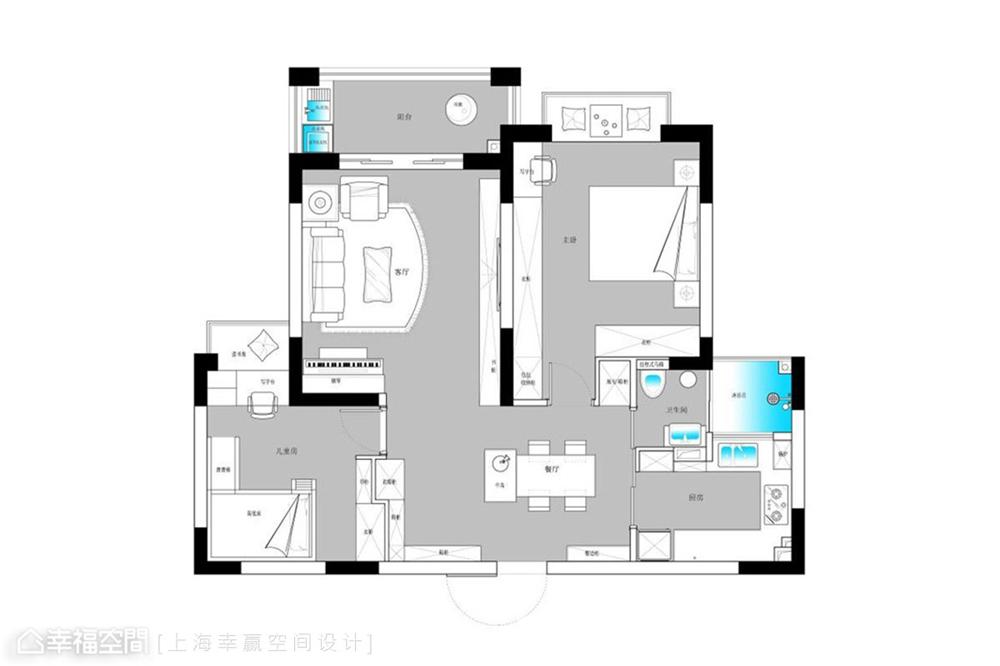 装修设计 装修完成 现代风格 户型图图片来自幸福空间在89平,大容量风水满分文化宅的分享