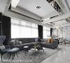 混搭美学 蒋学正设计师运用三种不同石材,形塑主空间的色彩与质感,以气质灰建构立体典雅的空间美学。