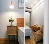 卧室采用大面积的灰蓝色调做主色,让空间的氛围恰到好处,搭配上活跃的床品和挂画,在玻璃铁艺灯具给予的自然光下,烘托出了一副艺术的画面效果。